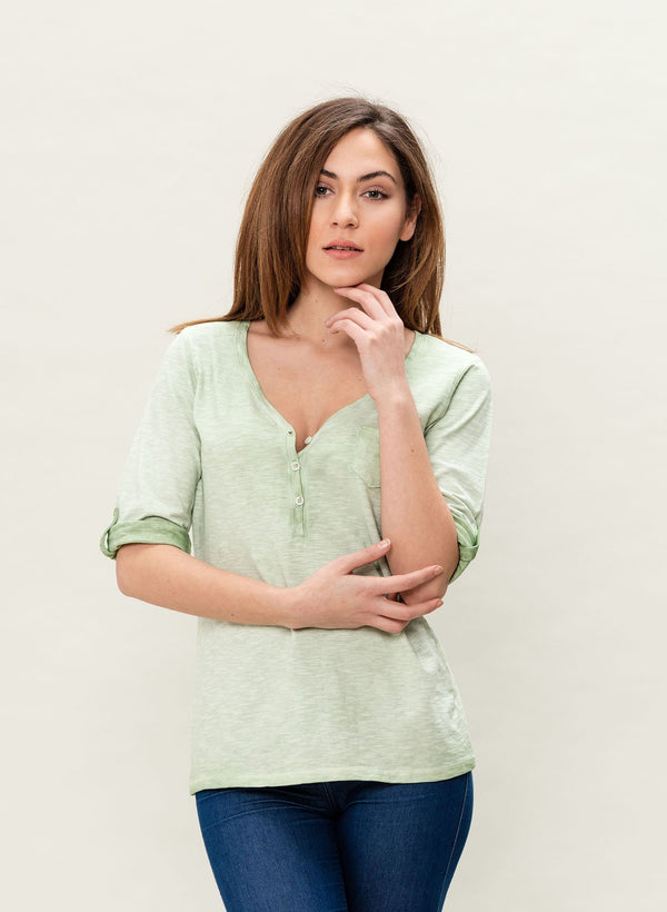 Damen Garment Dyed 3/4 Arm T-Shirt