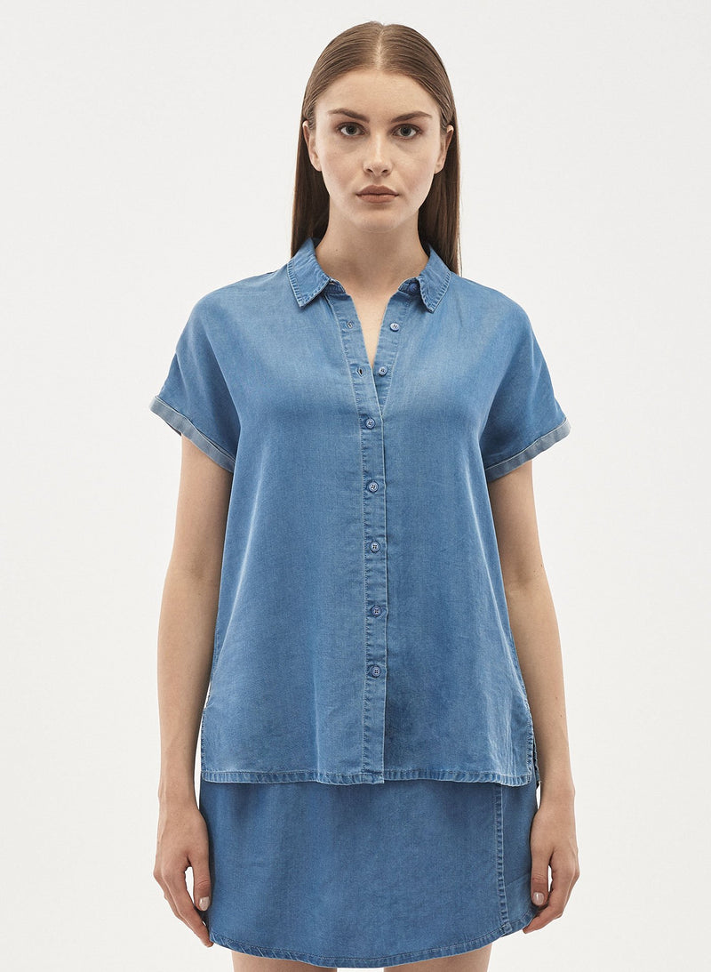 Damen Bluse aus Tencel™ Denim mit Umlegekragen