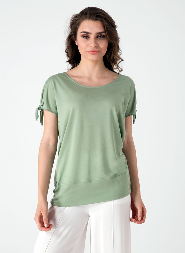 Damen Shirt aus Tencel™ mit Knoten-Detail am Ärmel WOR5310 Mineral Green