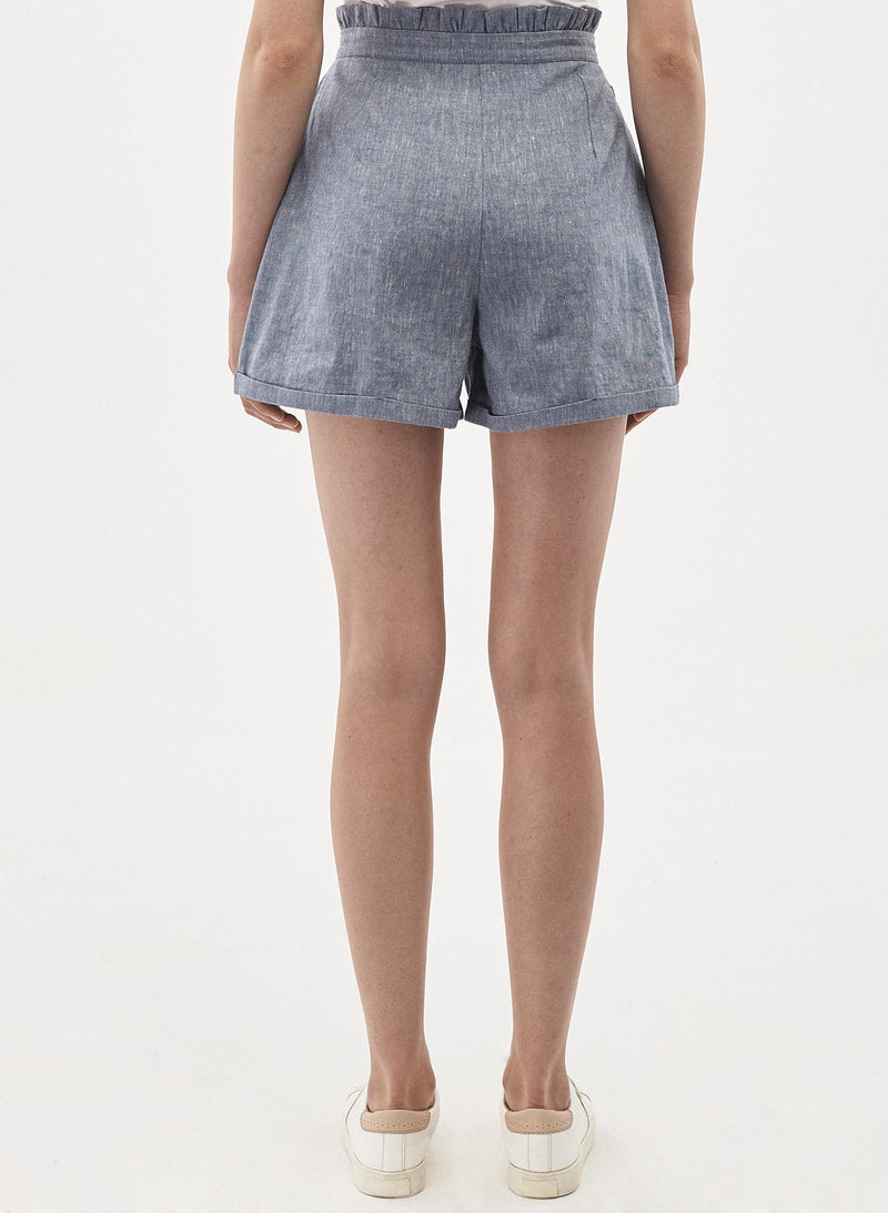 Shorts aus Leinen-Mix in Denim Optik