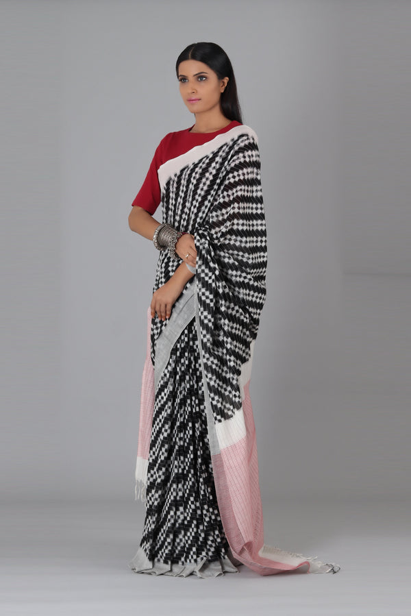 Black Double Ikat Cotton Saree