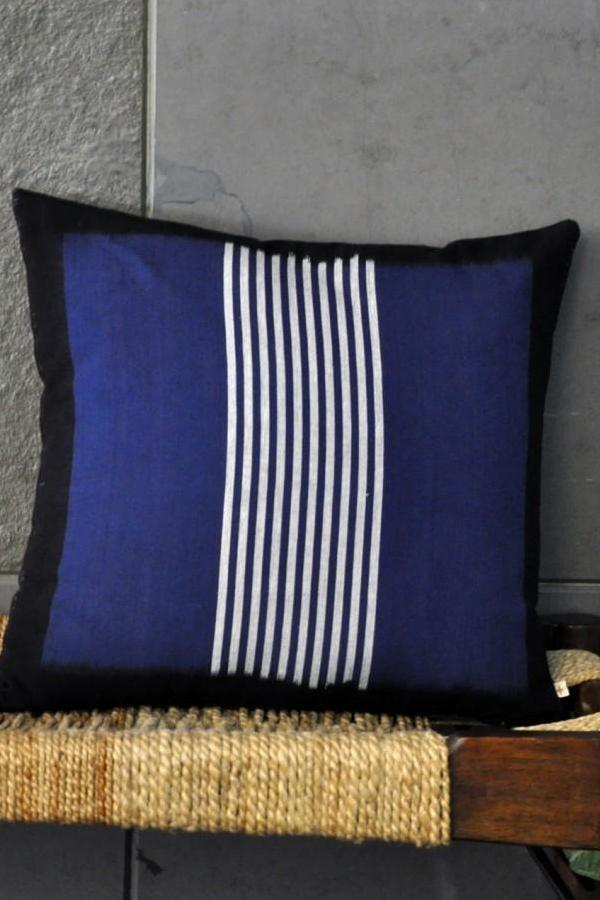 Blue Band Stipes Cushion Cover