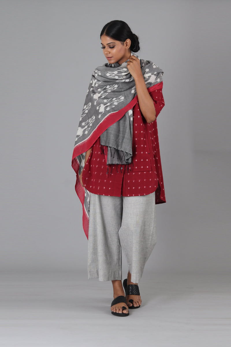 Grey Flower Dupatta