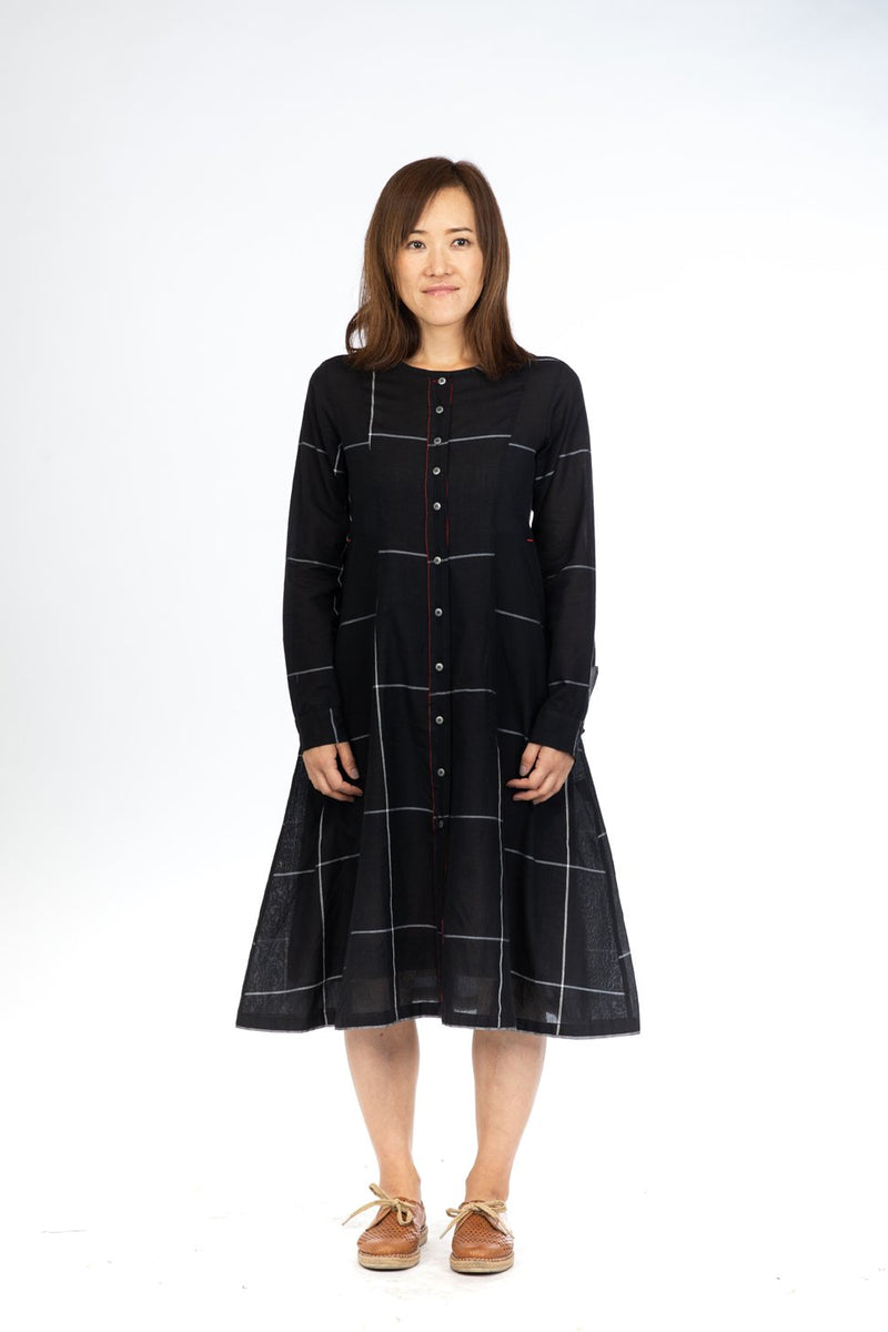 Black Checks Button Down Dress