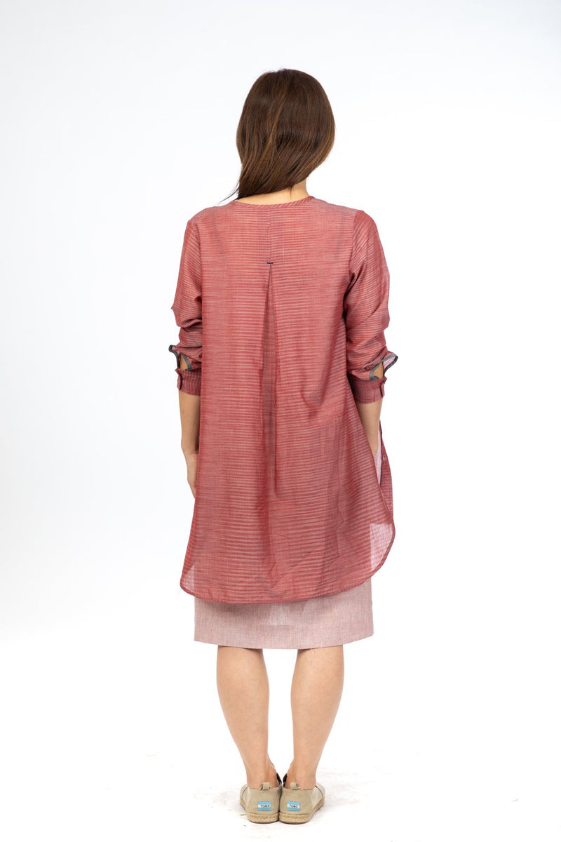 Red Space Dye Tunic Top