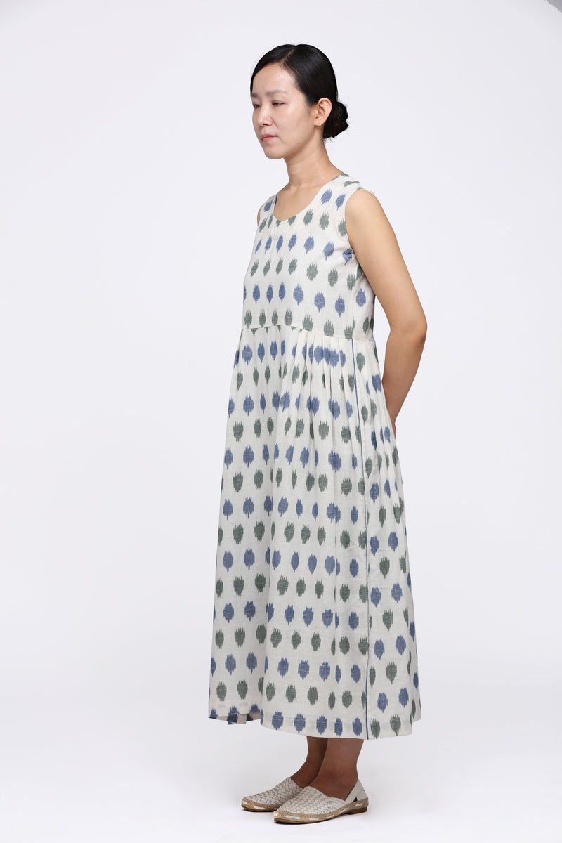 Blue Green Polka Sleeveless Maxi Dress