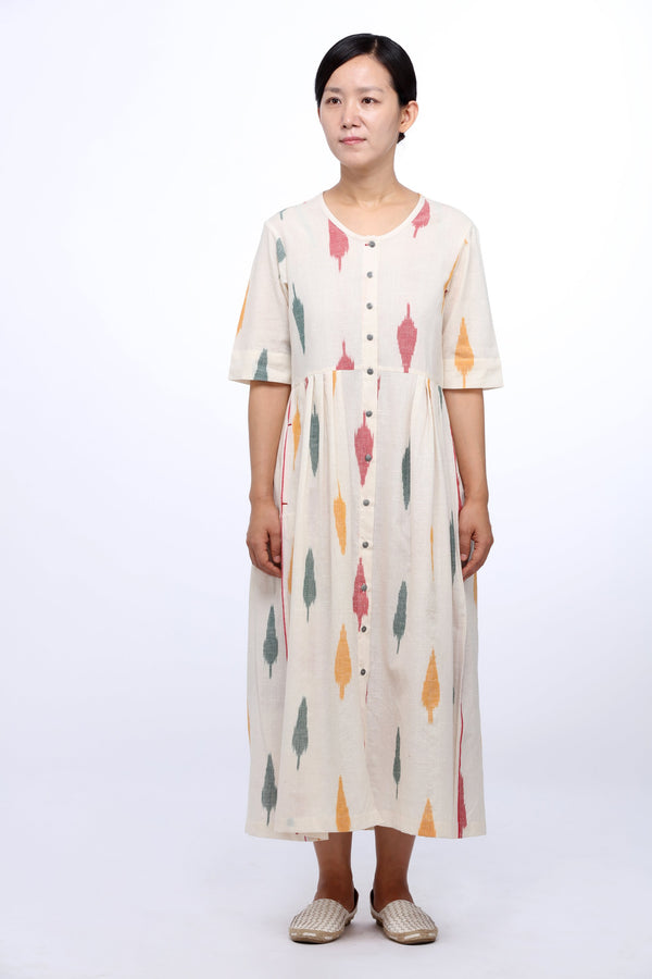 Multi Leaf Open Maxi Dress