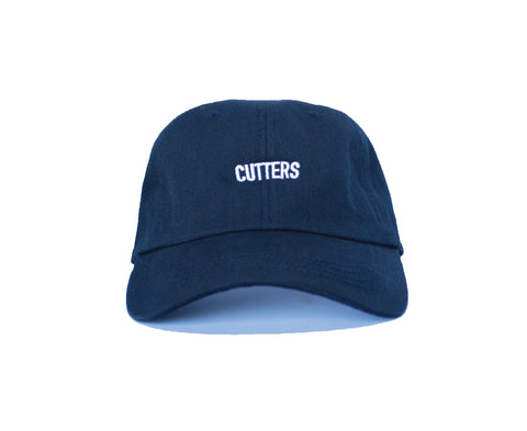 Our Rosewood Cutters cotton twill, black color dad hat with low resolution embroidery.