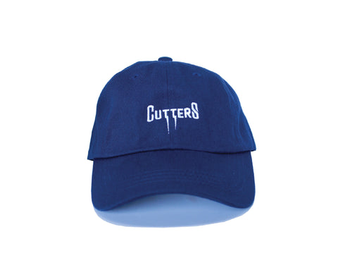 "Our Rosewood Cutters ""Striker"" 100% cotton twill, navy color dad hat with low resolution embroidery."