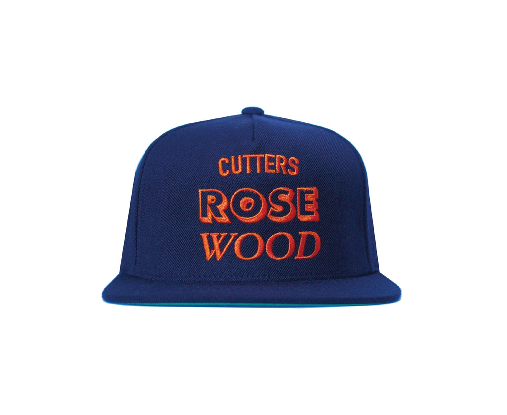 Black Rosewood snapback with orange font embroidery