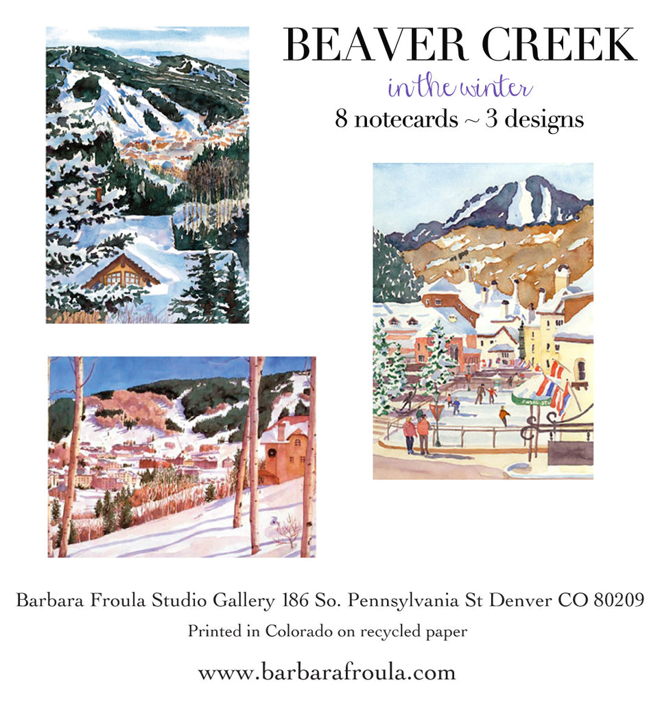 Box of 8 Assorted Winter Beaver Creek notecards