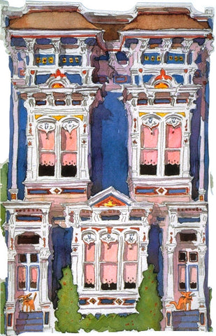 Victorian House Notecard, die-cut Blue Italianate