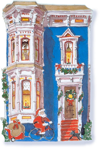 Victorian House Holiday Notecard, die-cut Blue Italianate