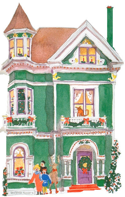 Victorian House Holiday Notecard, die-cut Green Queen Anne