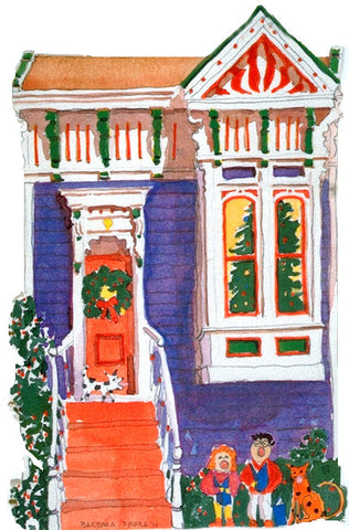 Victorian House Holiday Notecard, die-cut Purple Italianate