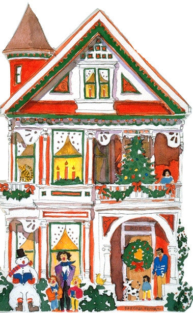 Victorian House Holiday Notecard, die-cut Red with Snowman