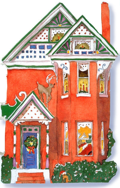 Victorian House Holiday Notecard, die-cut Red Queen Anne