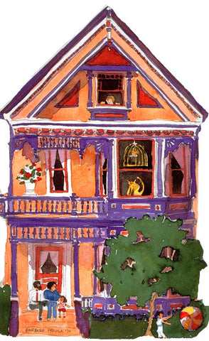 Victorian House Notecard, die-cut Peach Queen Anne