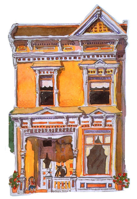 Victorian House Notecard, die-cut Orange Italianate