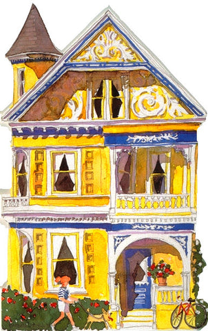 Victorian House Notecard, die-cut Yellow Queen Anne