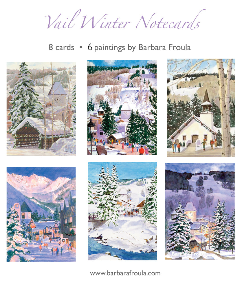Box of 8 Assorted Vail Winter Notecards