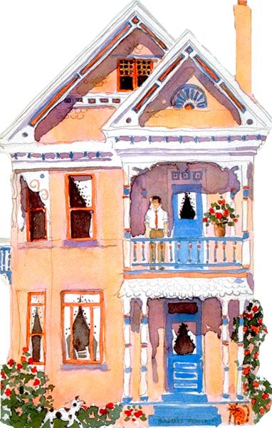 Victorian House Notecard, die-cut Pink Queen Anne
