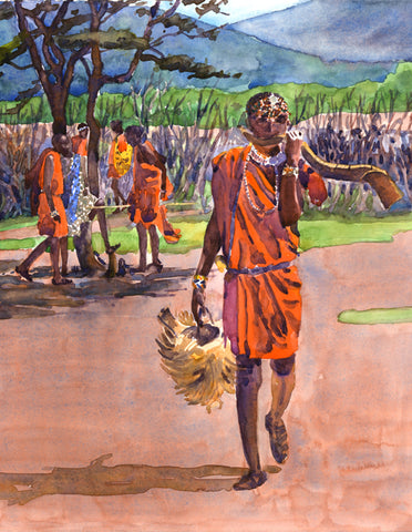 Maasai Warrior with Horn