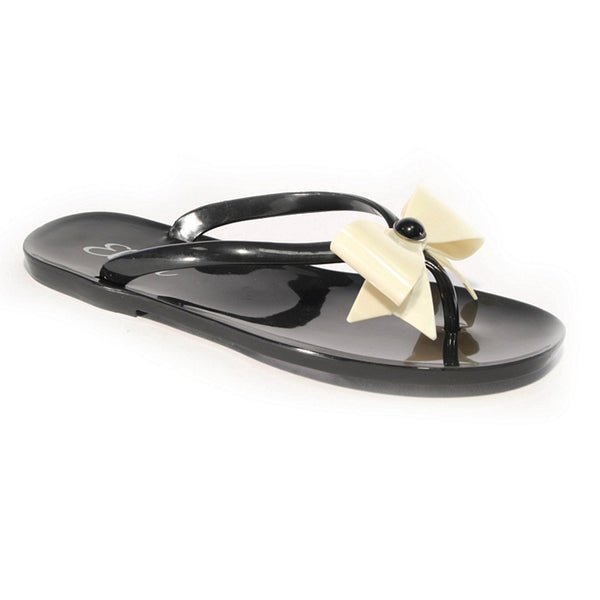 Summer Bow Toepost Sandals, Black