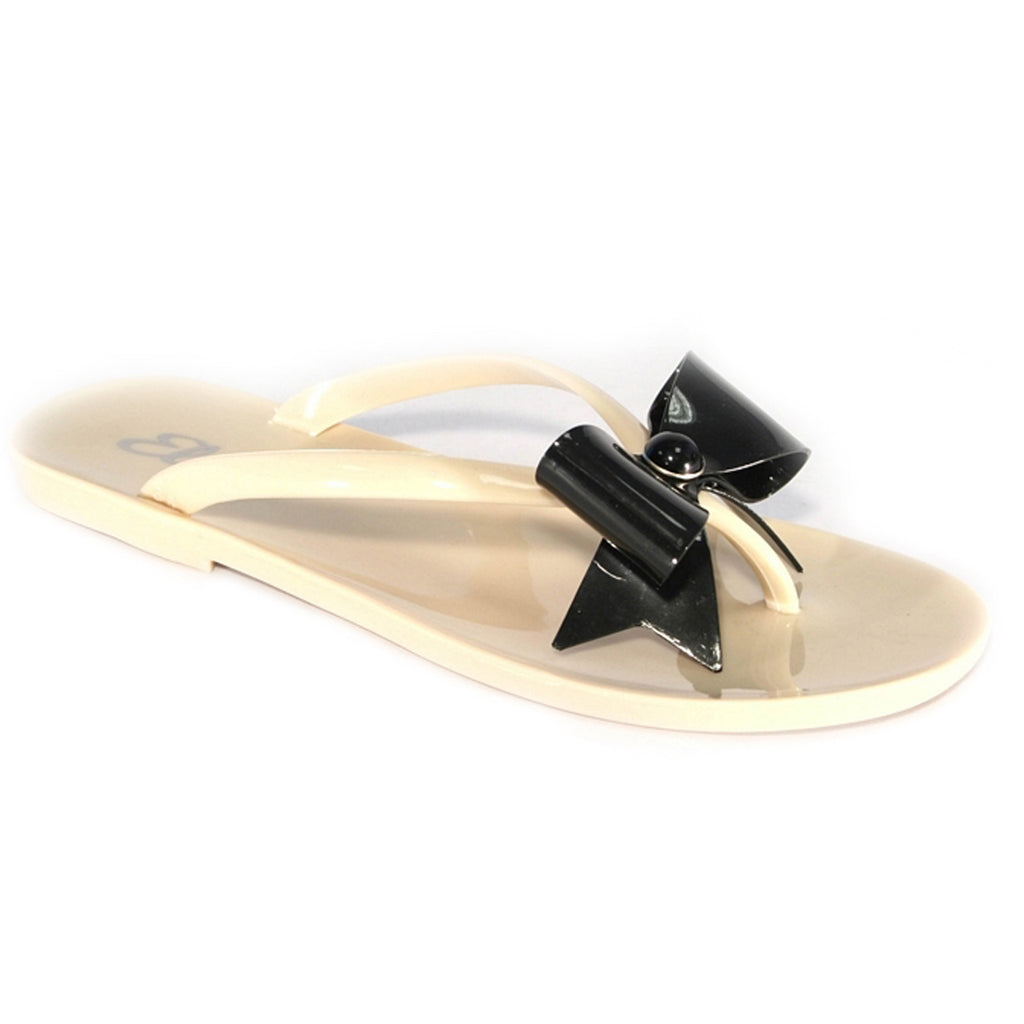 Summer Bow Toepost Sandals, Nude