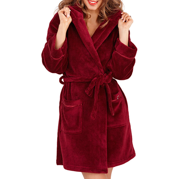 Soft Hooded Short Bath Robe, Burgundy