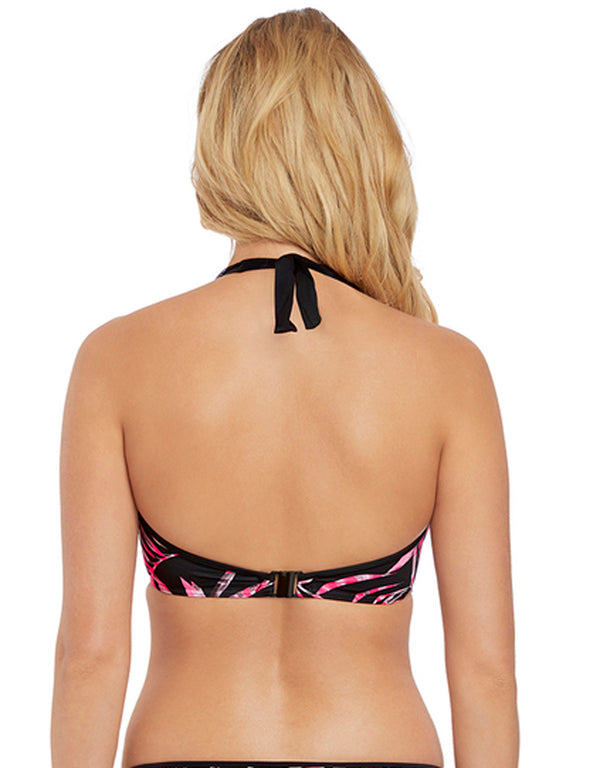 Freya Sunset Palm Underwire Banded Halter Bikini Top, Black