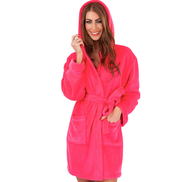 Soft Hooded Short Bathrobe, Raspberry