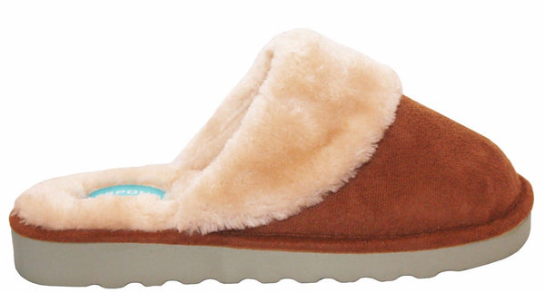 Bras & Honey Ladies Lilly Slippers Faux Sheepskin Mule, Brown