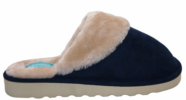 Bras & Honey Ladies Lilly Slippers Faux Sheepskin Mule, Navy