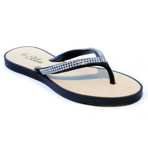 Diamante Toepost Flip Flop Sandals, Black