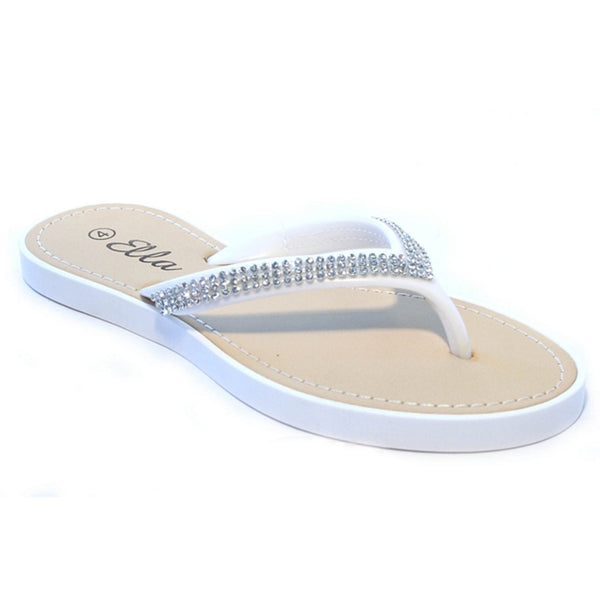 Diamante Toepost Flip Flop Sandals, White