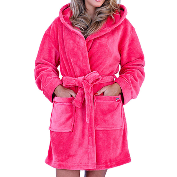 Soft Hooded Short Bath Robe, Pink