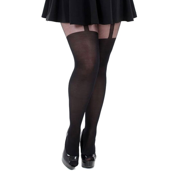 Pamela Mann Plain Stripe Suspender Tights, Black