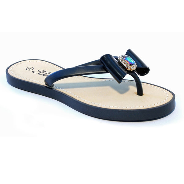 Summer Bow Diamante Toepost Flip Flop Sandals, Black