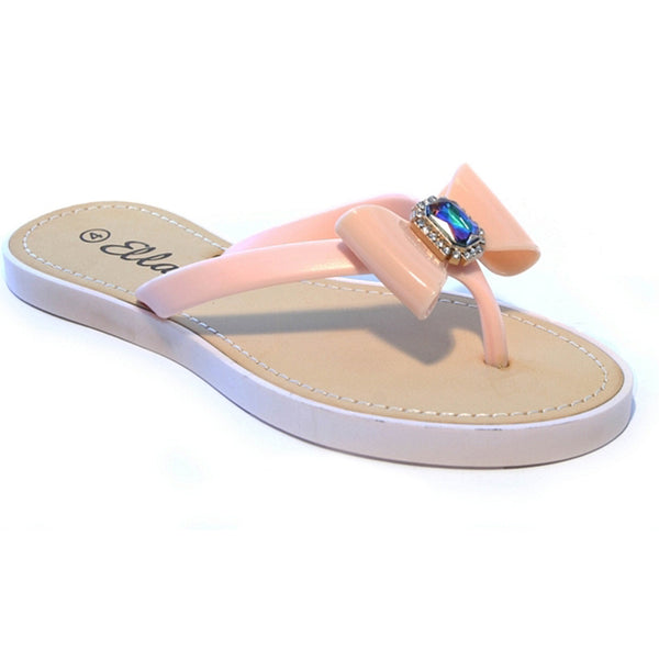 Summer Bow Diamante Toepost Flip Flop Sandals, Nude