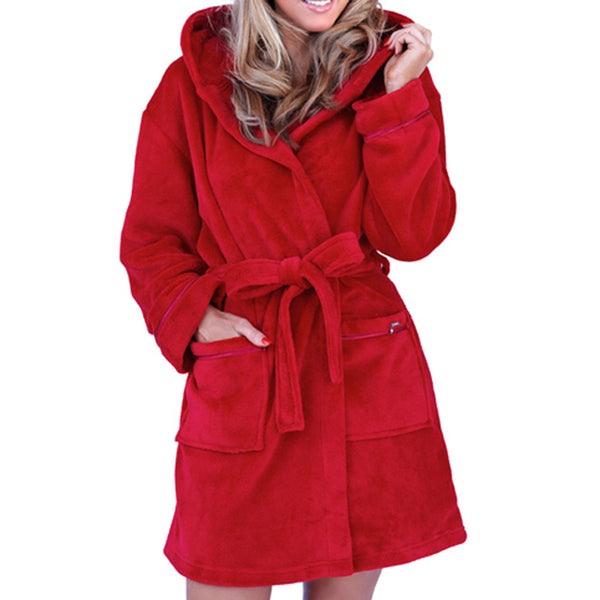 Soft Hooded Short Bathrobe, Red