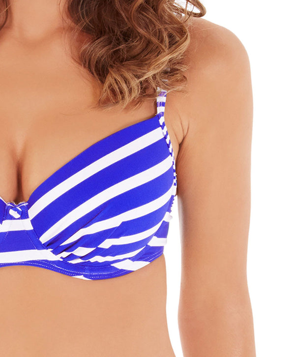 Lepel Riviera Moulded Plunge Bikini Top, Blue/White
