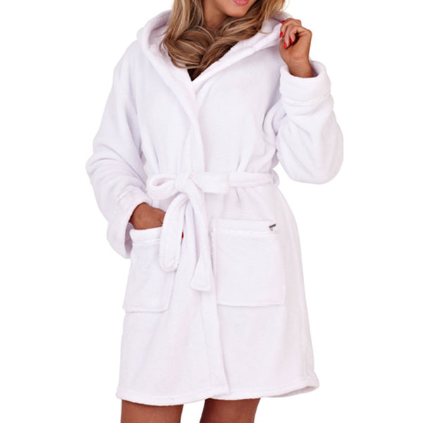 Soft Hooded Short Bathrobe, White