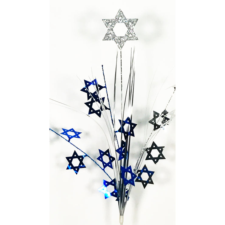 Glitter Top Star of David Spray-Blue/Silver