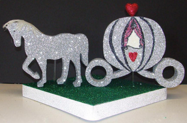 Glittered Foam Horse & Carriage for Princess Party