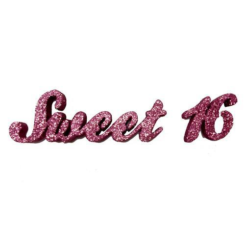 Glittered Sweet 16 Sign & Centerpiece Pick