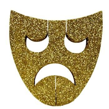 Gold Glitter Tragedy Mask Decoration