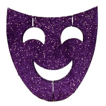 Purple Glitter Comedy Mask Decoration