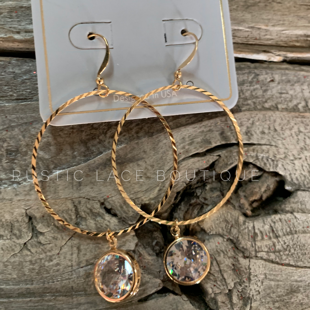 Textured Hoops With Crystal Dangle Charm - Gold