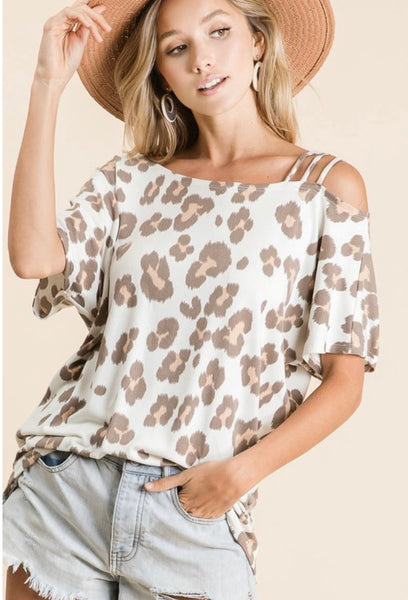 Leopard Triple Strap Top - Taupe